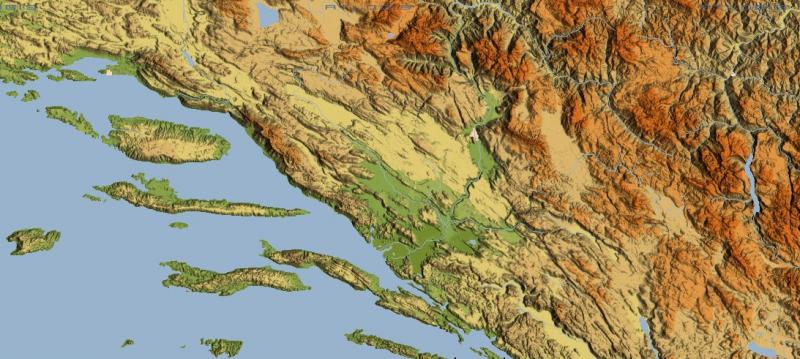 Reljefna karta šire zemljopisne regije Mostara