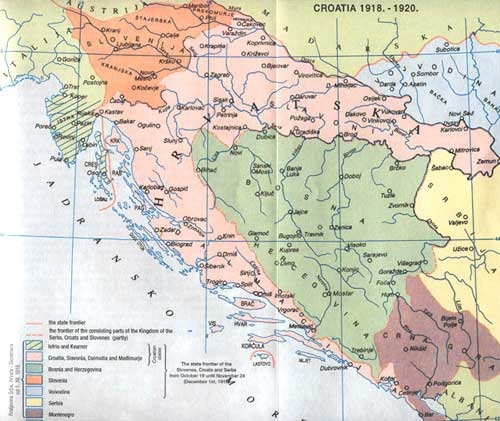 Croatian borders in the Kingdom of Serbs, Croats and Slovenes