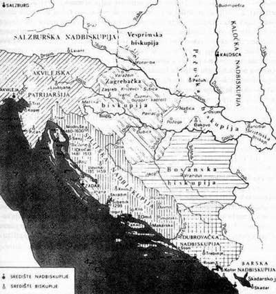 Teritorijalna organizacija crkve u Hrvatskoj i Bosni ( prema N. Klaic Povijest Hrvata u razvijenom srednjem vijeku)