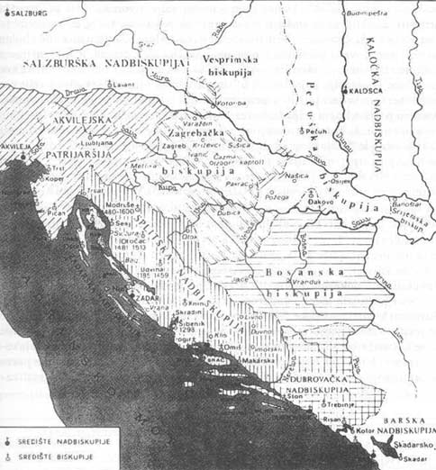Zemljovid 22. Teritorijalna organizacija crkve u Hrvatskoj i Bosni ( prema N. Klaic \\\\\\