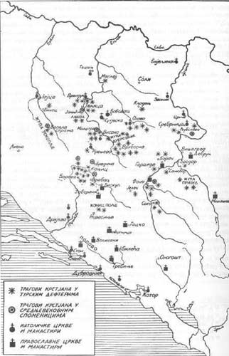 Map 23. Locations of churches in Bosnia before the arrival of the Ottomans