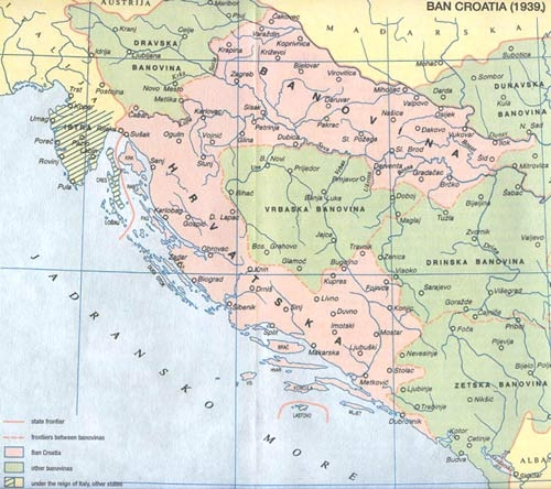 Croatian Banovina/Ban Croatia in 1939.